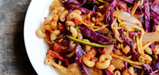 Purple Cabbage Tomato Zucchini Pasta