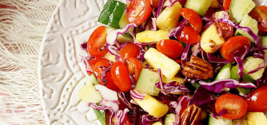 Detox Pineapple, Purple Cabbage, Cucumber and Tomato Salad
