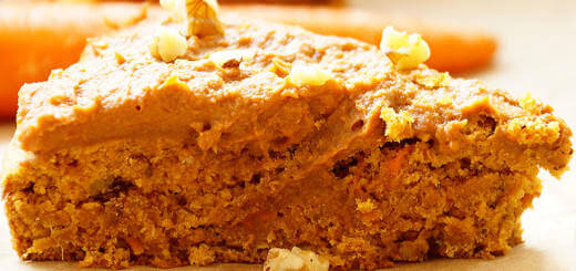 A slice of Healthy Vegan Sweet Potato Carrot Cake