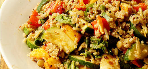 Quinoa Lentil Rice Salad Rainbow Veggies Roasted Parsnips