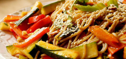 Veggie Salad with Noodles and Garlic Ginger Dressing